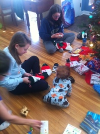 12 -- opening presents with his sis's