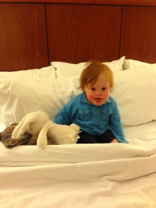 T at hotel bed 3-13