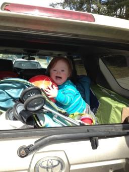 T in back of car -- long shot -- 3-13