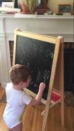 T at chalkboard